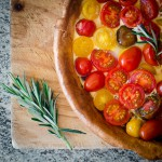 Heirloom tomato tart with rosemary & red onion