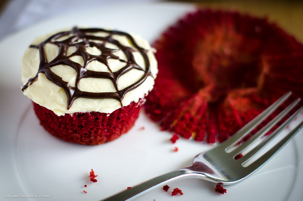 a spooky halloween treat red velvet cupcakes