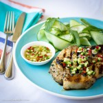 Pork cutlets with cucumber salad and sweet chilli dressing