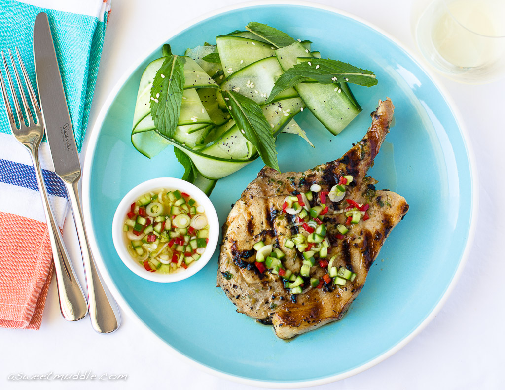 Pork cutlets with chilli dressing
