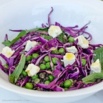 Puy lentil, pea and & cabbage salad, with mint & feta