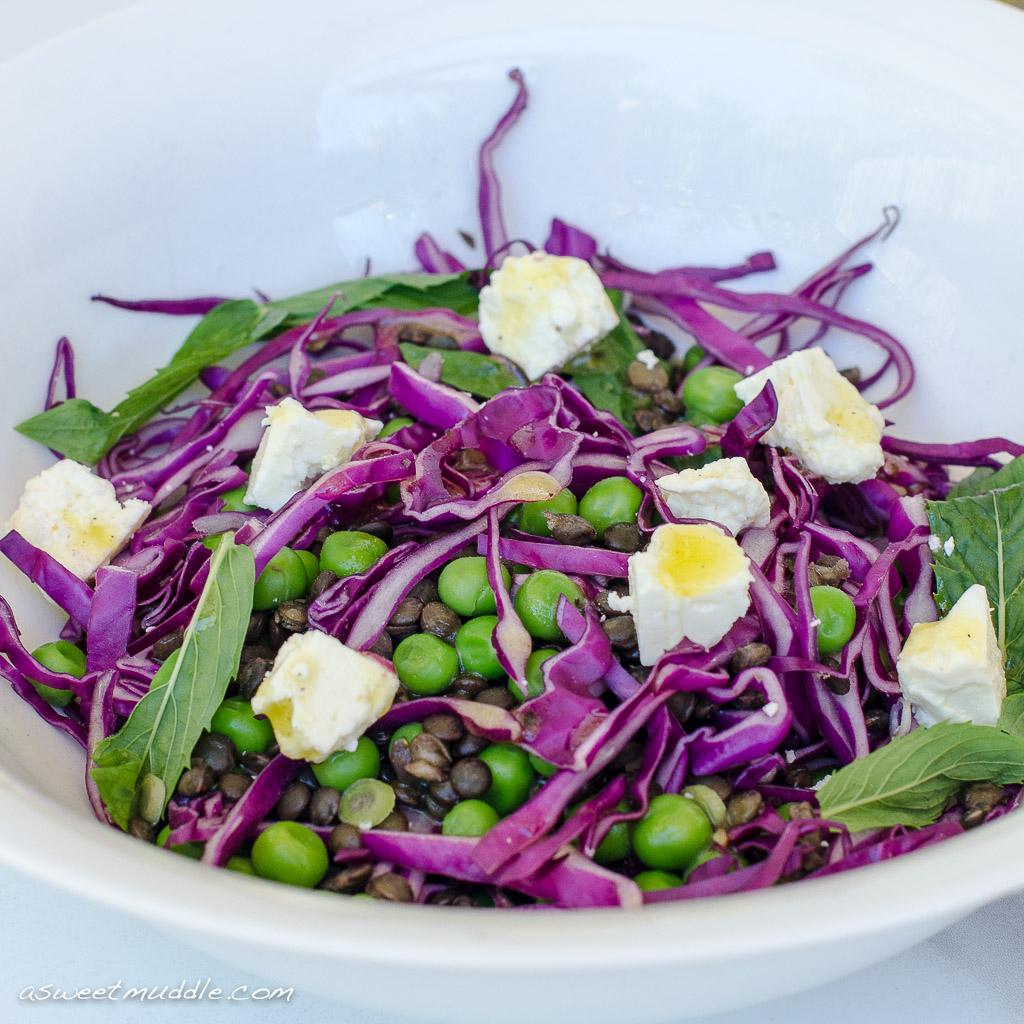 Puy Lentil Pea And Red Cabbage Salad With Mint And Feta A Sweet Muddle