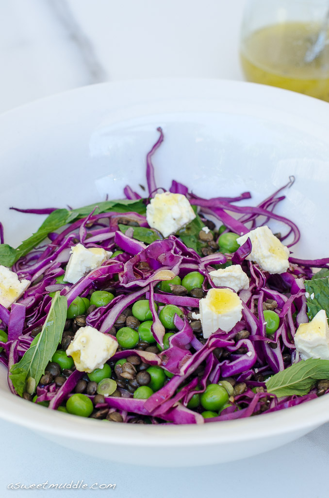 Lentil, pea and red cabbage salad with feta