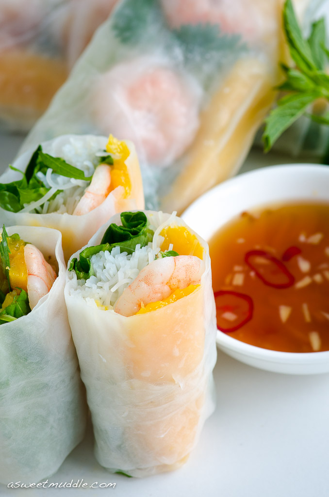 Prawn & mango summer rolls