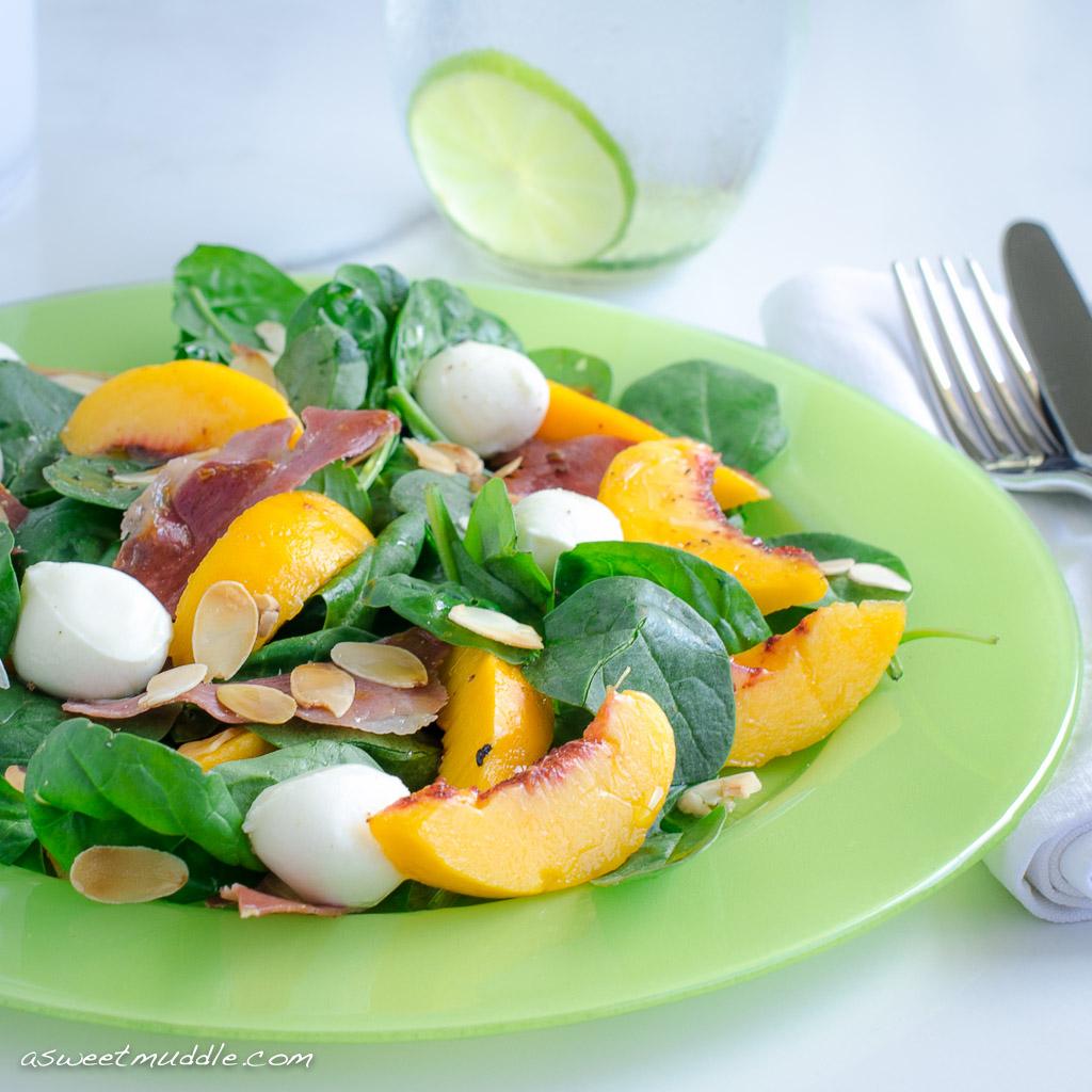 Peach, prosciutto and mozzarella salad - A Sweet Muddle