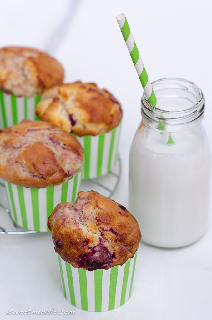 Raspberry, macadamia & white chocolate muffins