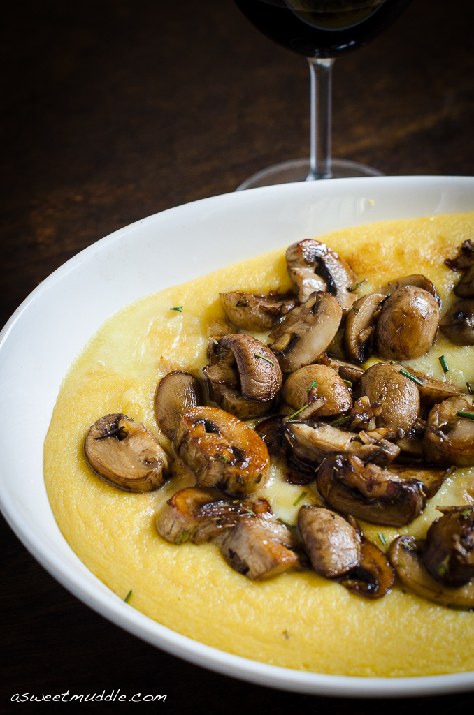 Sautéed mushrooms with creamy polenta - A Sweet Muddle