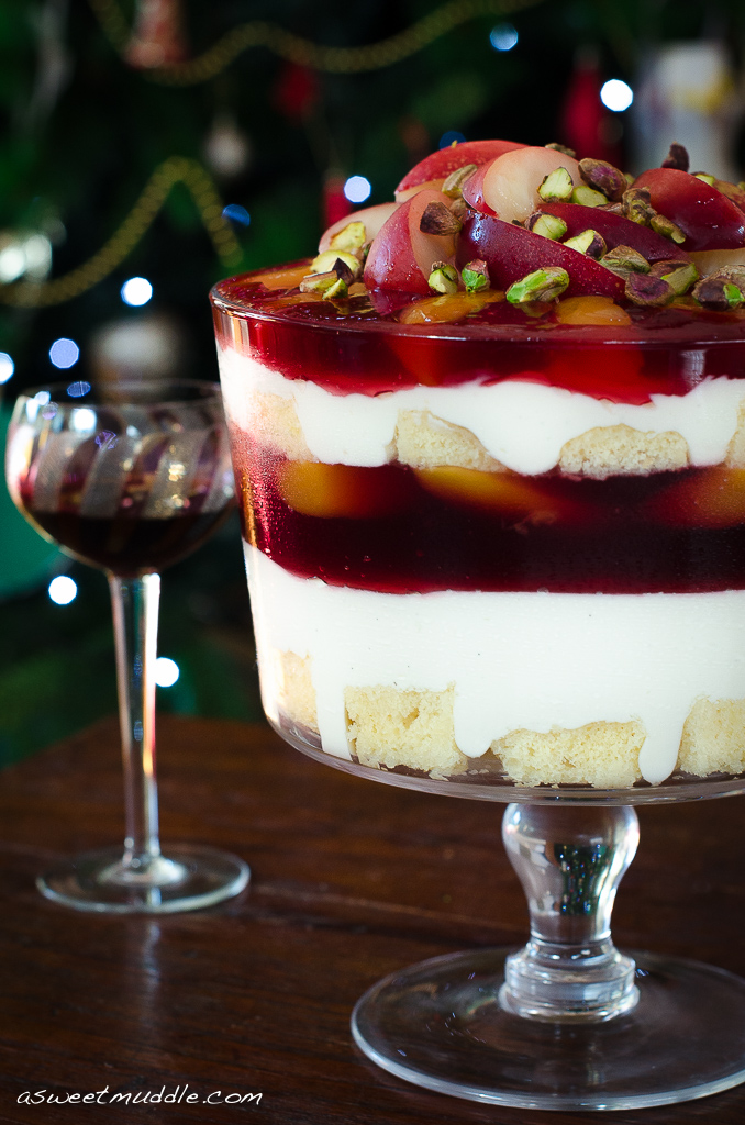 Gourmet Traveller's Nectarine, muscat and yoghurt trifle featured on A Sweet Muddle