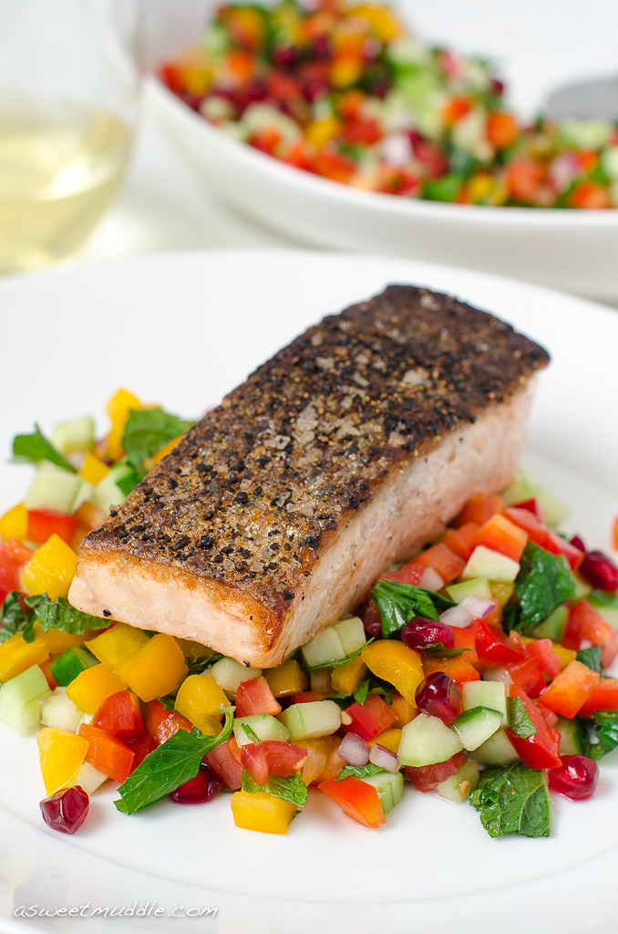 Crispy skinned salmon with Israeli salad