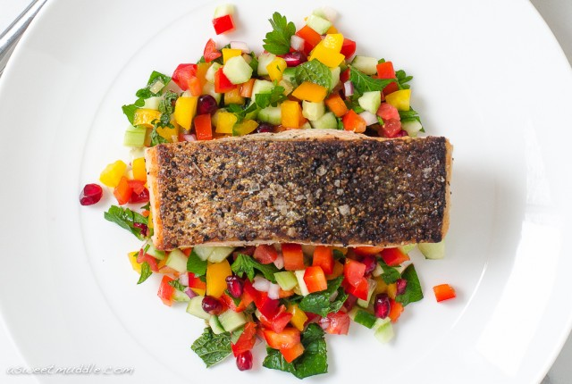 Crispy skinned salmon with Israeli salad | A Sweet Muddle