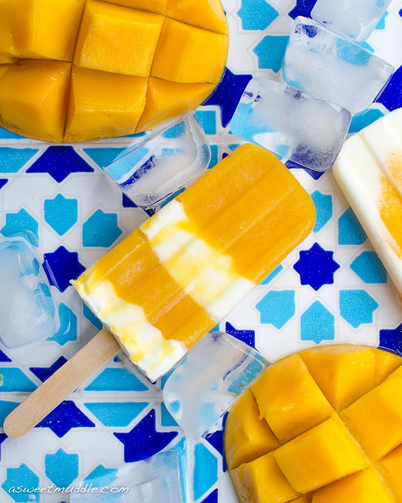 Creamy mango yoghurt popsicles | A Sweet Muddle